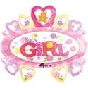 Baby Girl, großer, ovaler Luftballon mit Herzen aus Folie, es ist ein Mädchen, Ballon mit Helium zu Geburt und Taufe