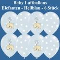 Baby Luftballons, Elefanten, 6 Stück, Hellblau