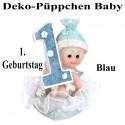 Deko-Püppchen Baby, zum 1. Geburtstag, Blau