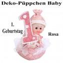 Deko-Püppchen Baby, zum 1. Geburtstag, Rosa