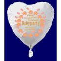 Babyparty Herzluftballon aus Folie, Girl-Mädchen, ohne Ballongas Helium