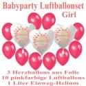 Babyparty Girl Luftballonset mit 1 Liter Helium-Einweg