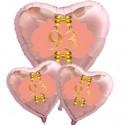 Ballon-Bouquet Herzluftballons Roségold zum 93.Geburtstag, 1 x 71 cm und 2 x 45 cm, Rosa-Gold