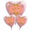 Ballon-Bouquet Herzluftballons Roségold zum 94.Geburtstag, 1 x 71 cm und 2 x 45 cm, Rosa-Gold