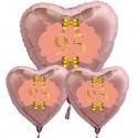 Ballon-Bouquet Herzluftballons Roségold zum 95.Geburtstag, 1 x 71 cm und 2 x 45 cm, Rosa-Gold