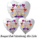 """Ballon-Bouquet Herzluftballons, """"Zum Valentinstag Alles Liebe"""", 1 x 71 cm und 2 x 45 cm, weiß"""
