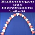 Hochzeit Ballonbogen Rot-Weiße Herzballons, inkl. Ballongas-Einweg