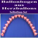 Hochzeit Ballonbogen Rote Herzballons, inkl. Ballongas-Einweg