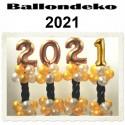 Dekoration Silvester, 2021, 4 Stück Ballondekorationen zur Silvesterparty
