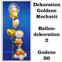 Goldene Hochzeit Dekoration, Ballondekoration 2, Goldene 50