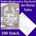 Ballonflugkarten Hochzeit, Just Married-Hochzeitstauben, 100 Stück
