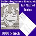 Ballonflugkarten Hochzeit, Just Married-Hochzeitstauben, 1000 Stück
