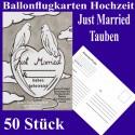 Ballonflugkarten Hochzeit, Just Married-Hochzeitstauben, 50 Stück