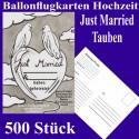 Ballonflugkarten Hochzeit, Just Married-Hochzeitstauben, 500 Stück