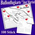 Ballonflugkarten Hochzeit, Just Married, 100 Stück