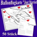 Ballonflugkarten Hochzeit, Just Married, 50 Stück
