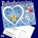 Ballonflugkarten Hochzeit - Wir haben geheiratet! 50 Postkarten für Luftballons