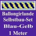 Ballongirlande Blau-Gelb, 1 Meter, Selbstbau-Set mit Dekoscheiben