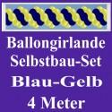 Ballongirlande Blau-Gelb, 4 Meter, Selbstbau-Set mit Dekoscheiben