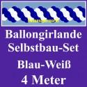 Ballongirlande Blau-Weiß, 4 Meter, Selbstbau-Set mit Dekoscheiben