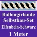 Ballongirlande Elfenbein-Schwarz, 1 Meter, Selbstbau-Set mit Dekoscheiben