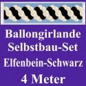 Ballongirlande Elfenbein-Schwarz, 4 Meter, Selbstbau-Set mit Dekoscheiben
