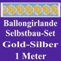 Ballongirlande Gold-Silber, 1 Meter, Selbstbau-Set mit Dekoscheiben