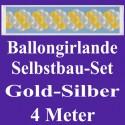 Ballongirlande Gold-Silber, 4 Meter, Selbstbau-Set mit Dekoscheiben