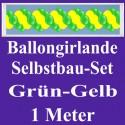 Ballongirlande Grün-Gelb, 1 Meter, Selbstbau-Set mit Dekoscheiben
