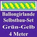 Ballongirlande Grün-Gelb, 4 Meter, Selbstbau-Set mit Dekoscheiben