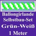 Ballongirlande Grün-Weiß, 1 Meter, Selbstbau-Set mit Dekoscheiben