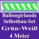 Ballongirlande Grün-Weiß, 4 Meter, Selbstbau-Set mit Dekoscheiben