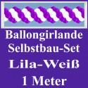 Ballongirlande Lila-Weiß, 1 Meter, Selbstbau-Set mit Dekoscheiben