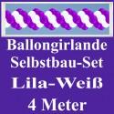 Ballongirlande Lila-Weiß, 4 Meter, Selbstbau-Set mit Dekoscheiben