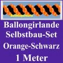 Ballongirlande Orange-Schwarz, 1 Meter, Selbstbau-Set mit Dekoscheiben