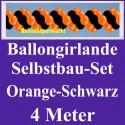 Ballongirlande Orange-Schwarz, 4 Meter, Selbstbau-Set mit Dekoscheiben