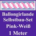 Ballongirlande Pink-Weiß, 1 Meter, Selbstbau-Set mit Dekoscheiben