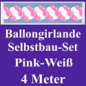 Ballongirlande Pink-Weiß, 4 Meter, Selbstbau-Set mit Dekoscheiben