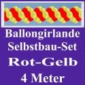 Ballongirlande Rot-Gelb, 4 Meter, Selbstbau-Set mit Dekoscheiben