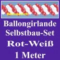 Ballongirlande Rot-Weiß, 1 Meter, Selbstbau-Set mit Dekoscheiben