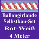 Ballongirlande Rot-Weiß, 4 Meter, Selbstbau-Set mit Dekoscheiben