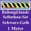 Ballongirlande Schwarz-Gelb, 1 Meter, Selbstbau-Set mit Dekoscheiben