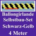 Ballongirlande Schwarz-Gelb, 4 Meter, Selbstbau-Set mit Dekoscheiben
