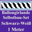 Ballongirlande Schwarz-Weiß, 1 Meter, Selbstbau-Set mit Dekoscheiben