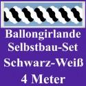 Ballongirlande Schwarz-Weiß, 4 Meter, Selbstbau-Set mit Dekoscheiben