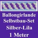 Ballongirlande Silber-Lila, 1 Meter, Selbstbau-Set mit Dekoscheiben