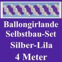 Ballongirlande Silber-Lila, 4 Meter, Selbstbau-Set mit Dekoscheiben