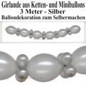 Silberne Hochzeit Dekoration, Ballongirlande zum Selbermachen, Ballondekoration in Silber