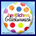 Herzlichen Glückwunsch Luftballon aus Folie mit Helium-Ballongas, Ballongrüße
