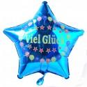 Viel Glück, Stern-Luftballon mit Helium-Ballongas, Ballongrüße